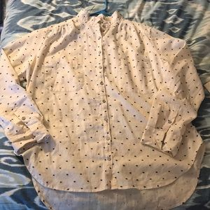NWT Lou&Grey Cream and Navy Button Down